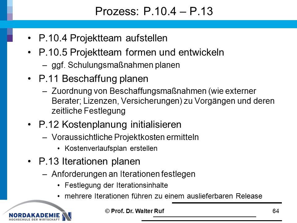 Prozess: P.10.4 – P.13 P.10.4 Projektteam aufstellen P.10.5 Projektteam formen und entwickeln –ggf. Schulungsmaßnahmen planen P.11 Beschaffung planen
