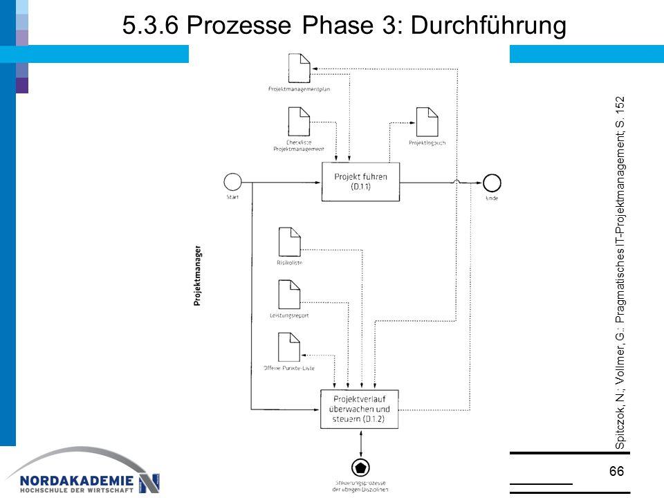 5.3.6 Prozesse Phase 3: Durchführung © Prof. Dr. Walter Ruf66 Spitczok, N.; Vollmer, G.: Pragmatisches IT-Projektmanagement; S. 152