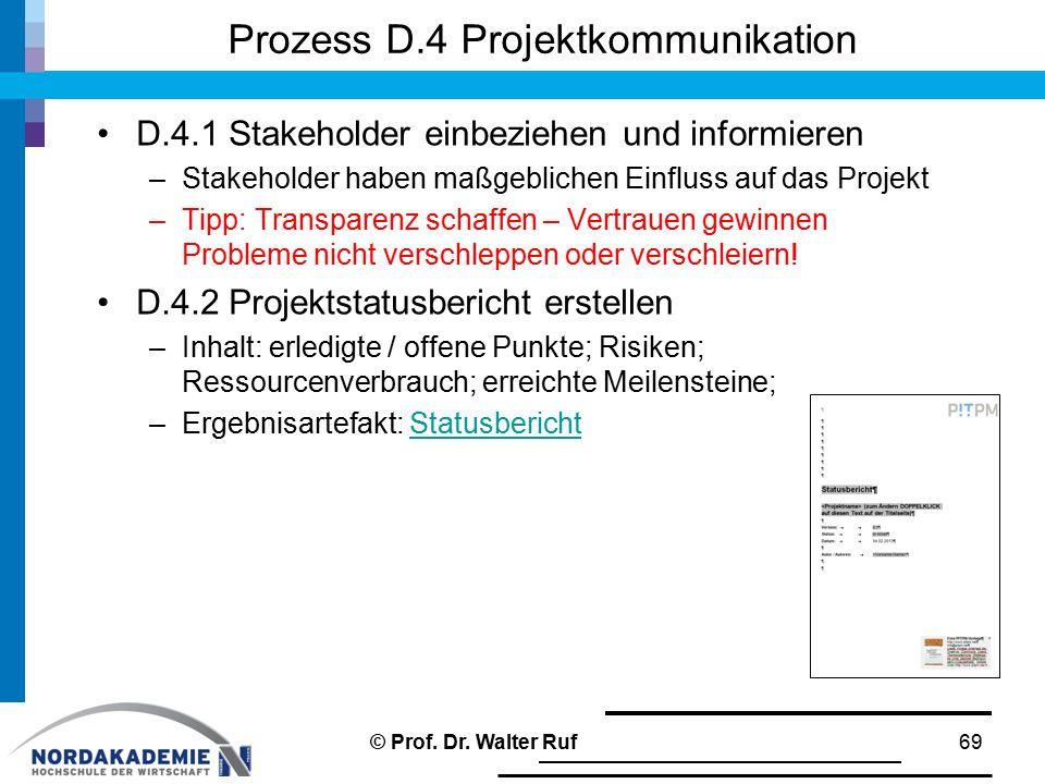 Prozess D.4 Projektkommunikation D.4.1 Stakeholder einbeziehen und informieren –Stakeholder haben maßgeblichen Einfluss auf das Projekt –Tipp: Transpa