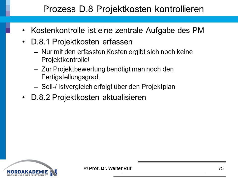 Prozess D.8 Projektkosten kontrollieren Kostenkontrolle ist eine zentrale Aufgabe des PM D.8.1 Projektkosten erfassen –Nur mit den erfassten Kosten er