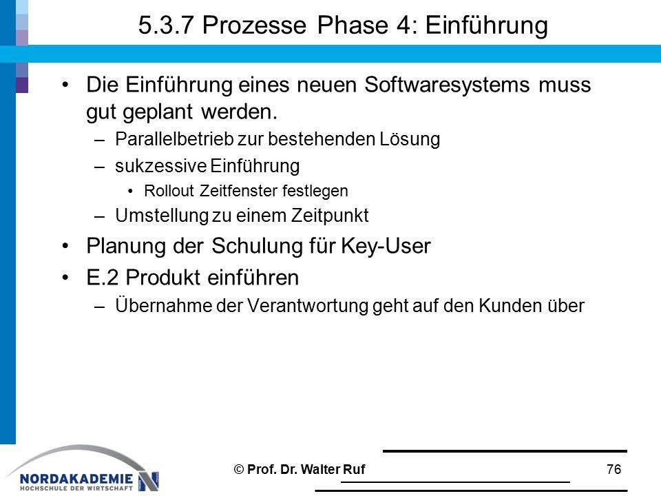 5.3.7 Prozesse Phase 4: Einführung Die Einführung eines neuen Softwaresystems muss gut geplant werden. –Parallelbetrieb zur bestehenden Lösung –sukzes