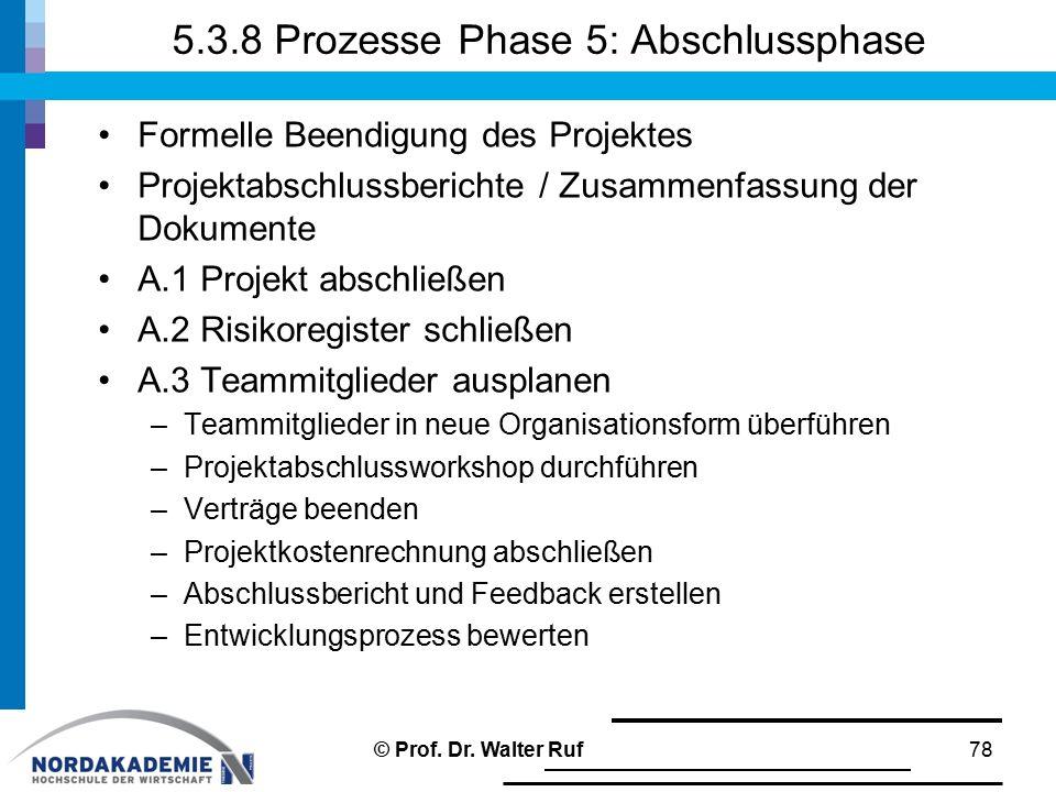 5.3.8 Prozesse Phase 5: Abschlussphase Formelle Beendigung des Projektes Projektabschlussberichte / Zusammenfassung der Dokumente A.1 Projekt abschlie