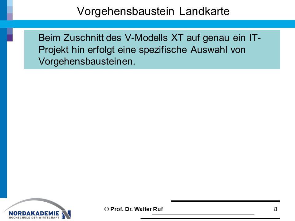 Vorgehensbaustein Landkarte Beim Zuschnitt des V-Modells XT auf genau ein IT- Projekt hin erfolgt eine spezifische Auswahl von Vorgehensbausteinen. 8©