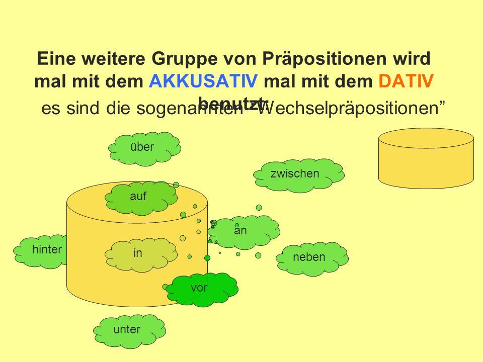 hinter Eine weitere Gruppe von Präpositionen wird mal mit dem AKKUSATIV mal mit dem DATIV benutzt: es sind die sogenannten Wechselpräpositionen an neben auf über in unter vor zwischen