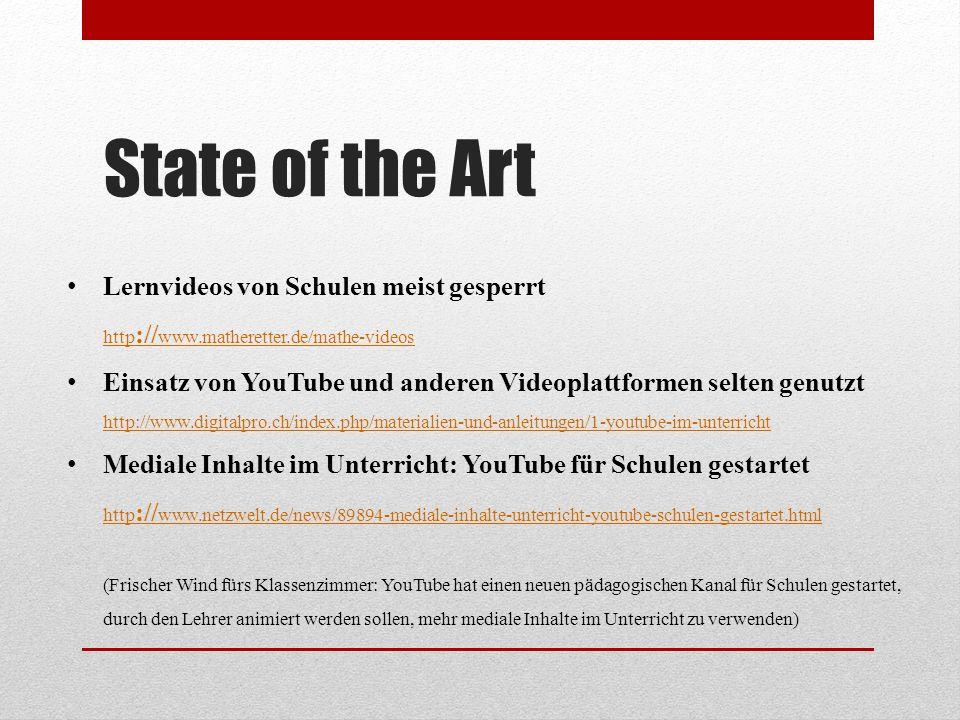 State of the Art Lernvideos von Schulen meist gesperrt http :// www.matheretter.de/mathe-videos http :// www.matheretter.de/mathe-videos Einsatz von YouTube und anderen Videoplattformen selten genutzt http://www.digitalpro.ch/index.php/materialien-und-anleitungen/1-youtube-im-unterricht http://www.digitalpro.ch/index.php/materialien-und-anleitungen/1-youtube-im-unterricht Mediale Inhalte im Unterricht: YouTube für Schulen gestartet http :// www.netzwelt.de/news/89894-mediale-inhalte-unterricht-youtube-schulen-gestartet.html (Frischer Wind fürs Klassenzimmer: YouTube hat einen neuen pädagogischen Kanal für Schulen gestartet, durch den Lehrer animiert werden sollen, mehr mediale Inhalte im Unterricht zu verwenden) http :// www.netzwelt.de/news/89894-mediale-inhalte-unterricht-youtube-schulen-gestartet.html