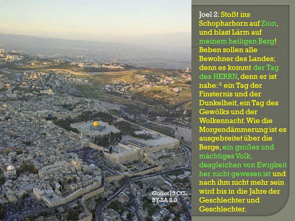 Joel 2: Stoßt ins Schopharhorn auf Zion, und blast Lärm auf meinem heiligen Berg! Beben sollen alle Bewohner des Landes; denn es kommt der Tag des HER