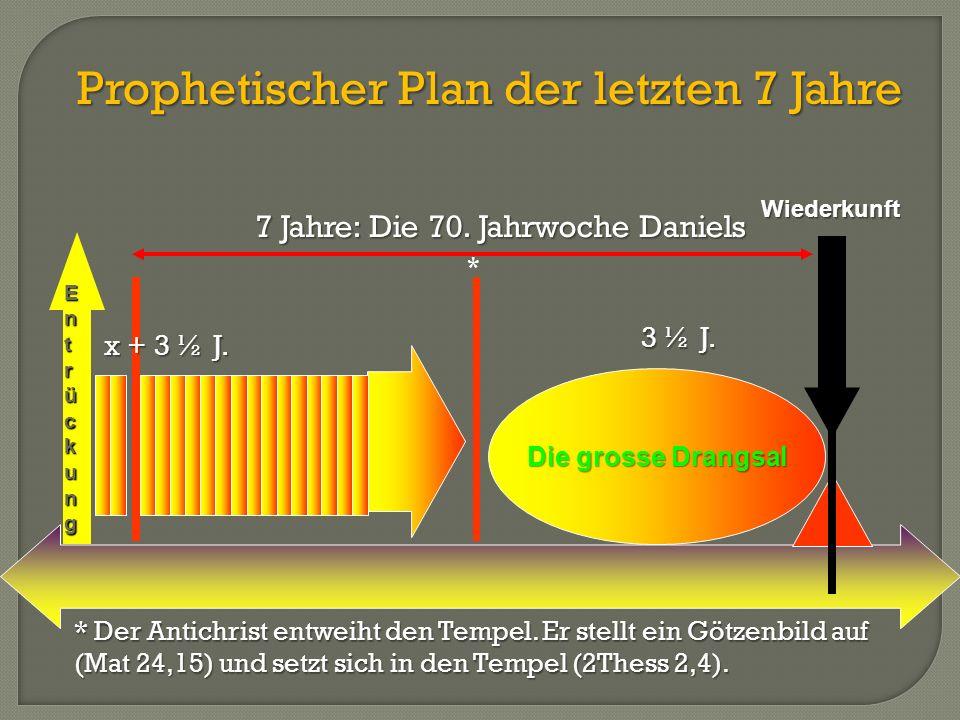 Prophetischer Plan der letzten 7 Jahre Die grosse Drangsal E n t r ü c k u n gWiederkunft 3 ½ J. x + 3 ½ J. * * Der Antichrist entweiht den Tempel. Er