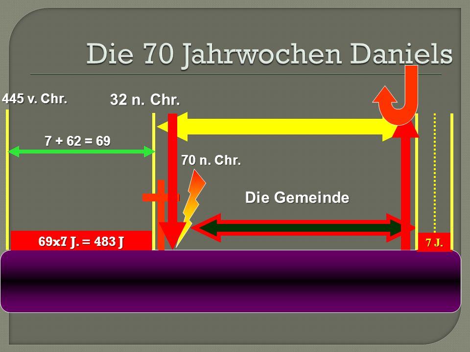 69x7 J. = 483 J 445 v. Chr. 32 n. Chr. 7 + 62 = 69 70 n. Chr. 7 J. Die Gemeinde