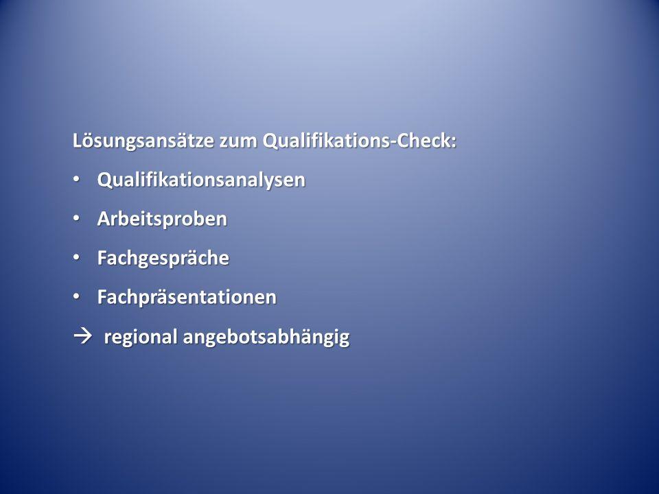 Lösungsansätze zum Qualifikations-Check: Qualifikationsanalysen Qualifikationsanalysen Arbeitsproben Arbeitsproben Fachgespräche Fachgespräche Fachpräsentationen Fachpräsentationen  regional angebotsabhängig