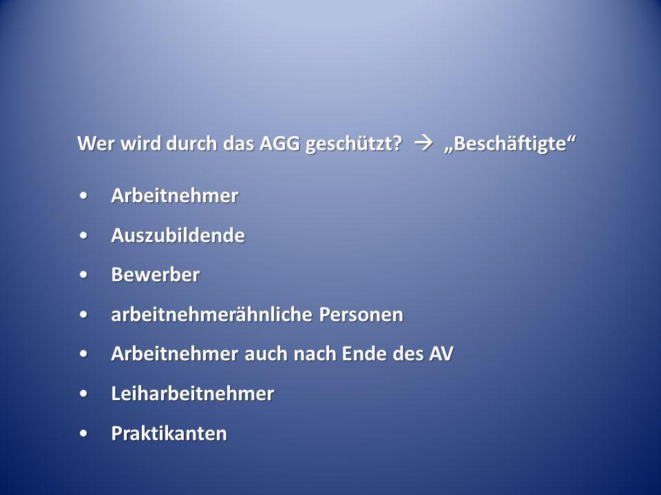 In welchen Bereichen spielt das AGG eine Rolle.