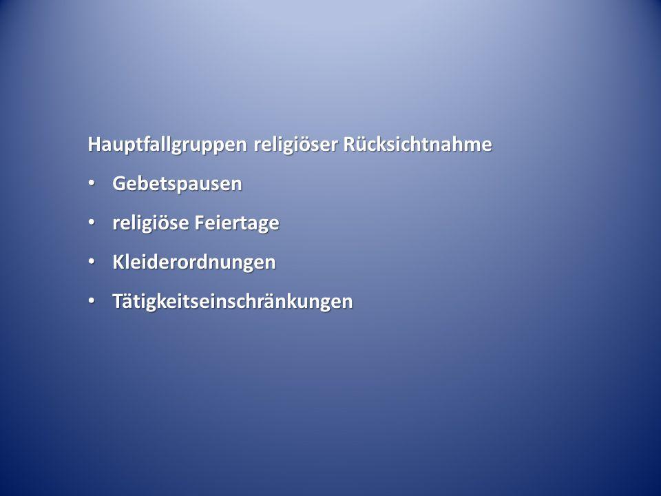Hauptfallgruppen religiöser Rücksichtnahme Gebetspausen Gebetspausen religiöse Feiertage religiöse Feiertage Kleiderordnungen Kleiderordnungen Tätigkeitseinschränkungen Tätigkeitseinschränkungen