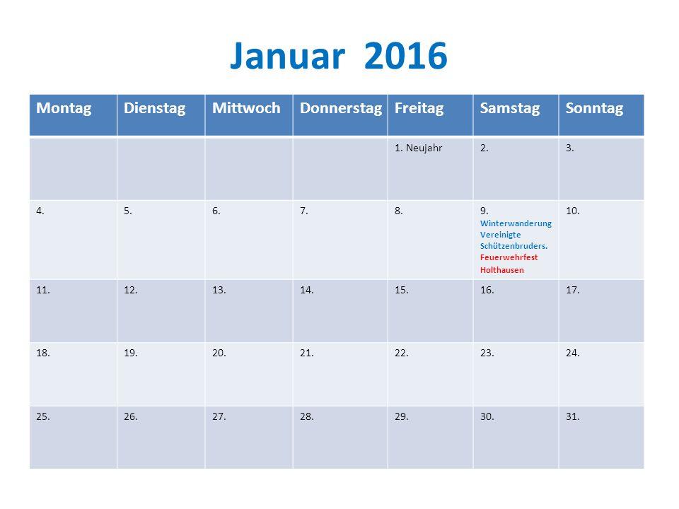 Januar 2016 MontagDienstagMittwochDonnerstagFreitagSamstagSonntag 1.