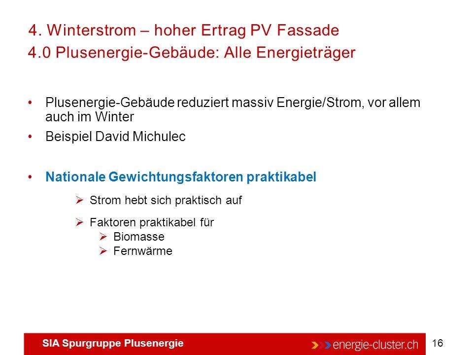 SIA Spurgruppe Plusenergie 16 4.0 Plusenergie-Gebäude: Alle Energieträger Plusenergie-Gebäude reduziert massiv Energie/Strom, vor allem auch im Winter
