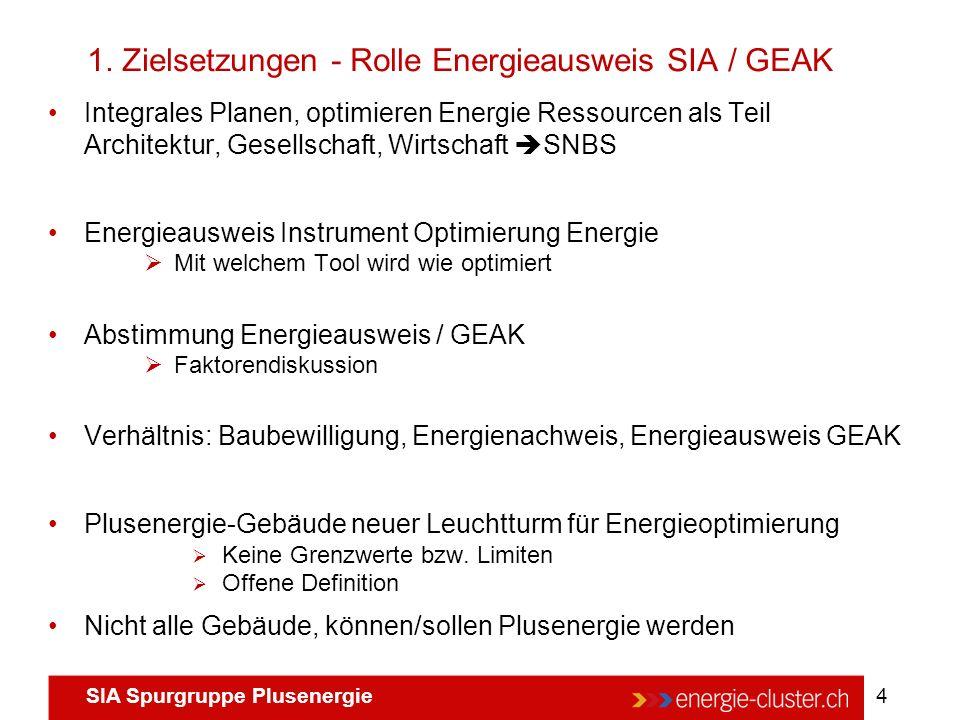 SIA Spurgruppe Plusenergie 4 Integrales Planen, optimieren Energie Ressourcen als Teil Architektur, Gesellschaft, Wirtschaft  SNBS Energieausweis Ins