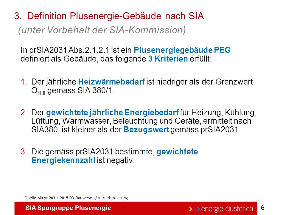 SIA Spurgruppe Plusenergie 6 3. Definition Plusenergie-Gebäude nach SIA Quelle: sia pr 2031: 2015-03 Bauwesen / Vernehmlassung In prSIA2031 Abs.2.1.2.