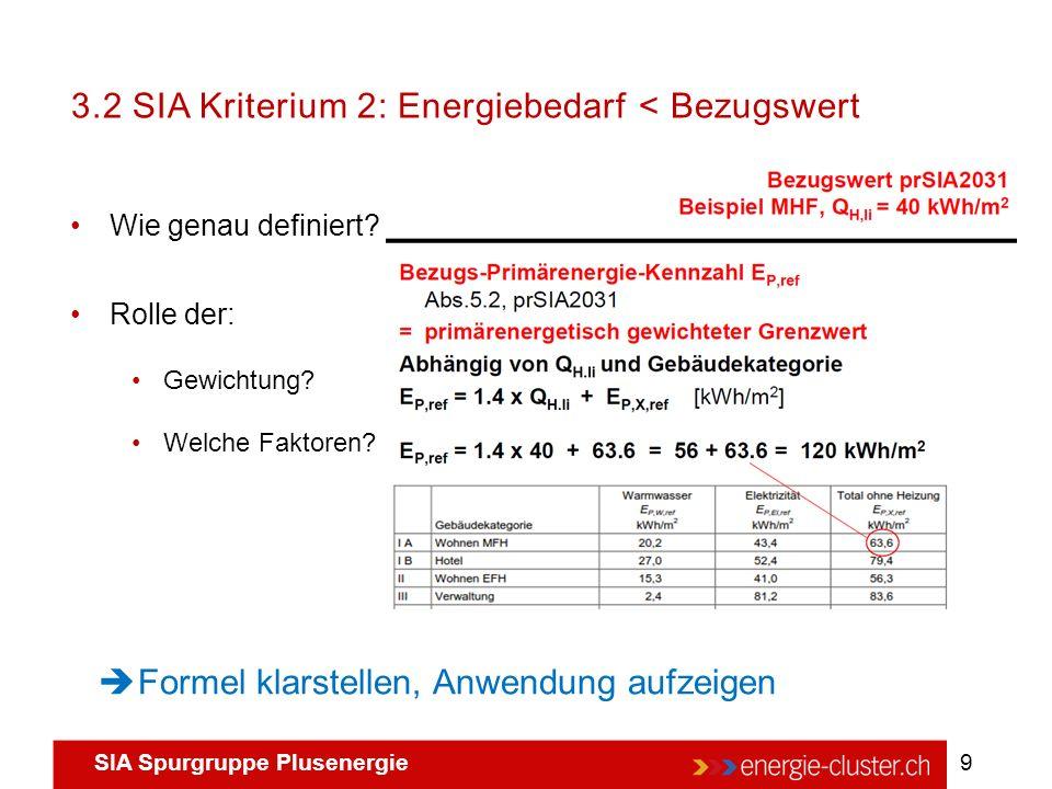 SIA Spurgruppe Plusenergie 9 3.2 SIA Kriterium 2: Energiebedarf < Bezugswert Wie genau definiert? Rolle der: Gewichtung? Welche Faktoren?  Formel kla