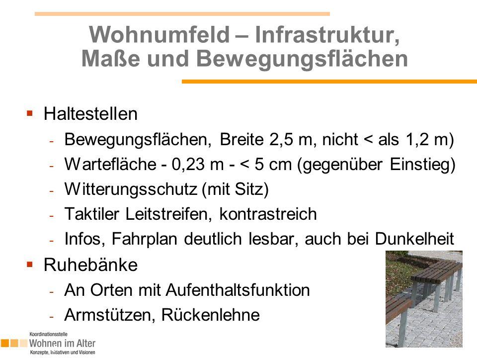 Wohnumfeld – Infrastruktur, Maße und Bewegungsflächen  Haltestellen - Bewegungsflächen, Breite 2,5 m, nicht < als 1,2 m) - Wartefläche - 0,23 m - < 5 cm (gegenüber Einstieg) - Witterungsschutz (mit Sitz) - Taktiler Leitstreifen, kontrastreich - Infos, Fahrplan deutlich lesbar, auch bei Dunkelheit  Ruhebänke - An Orten mit Aufenthaltsfunktion - Armstützen, Rückenlehne 15