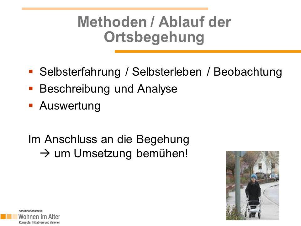 Methoden / Ablauf der Ortsbegehung  Selbsterfahrung / Selbsterleben / Beobachtung  Beschreibung und Analyse  Auswertung Im Anschluss an die Begehung  um Umsetzung bemühen.