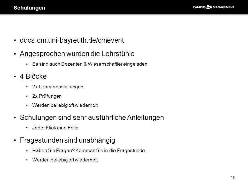 ▪docs.cm.uni-bayreuth.de/cmevent ▪Angesprochen wurden die Lehrstühle ▪Es sind auch Dozenten & Wissenschaftler eingeladen ▪4 Blöcke ▪2x Lehrveranstaltu