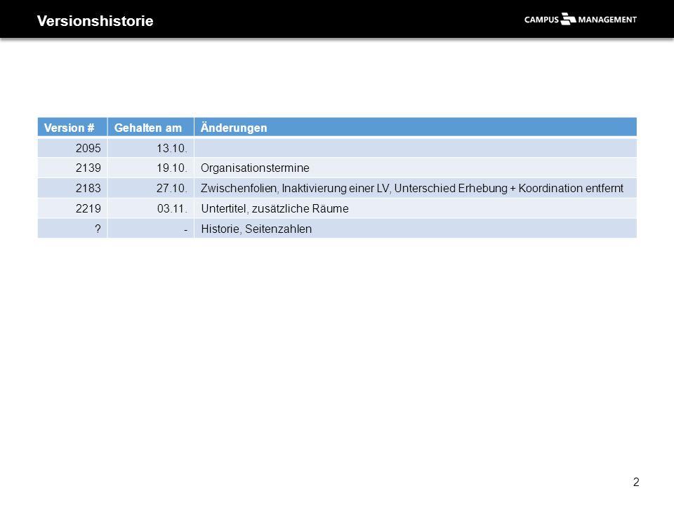 Versionshistorie Version #Gehalten amÄnderungen 209513.10. 213919.10.Organisationstermine 218327.10.Zwischenfolien, Inaktivierung einer LV, Unterschie