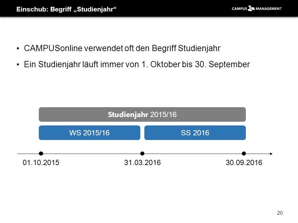 """▪CAMPUSonline verwendet oft den Begriff Studienjahr ▪Ein Studienjahr läuft immer von 1. Oktober bis 30. September Einschub: Begriff """"Studienjahr"""" 01.1"""