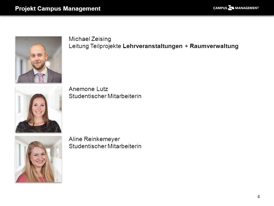 Projekt Campus Management Michael Zeising Leitung Teilprojekte Lehrveranstaltungen + Raumverwaltung Anemone Lutz Studentischer Mitarbeiterin Aline Rei
