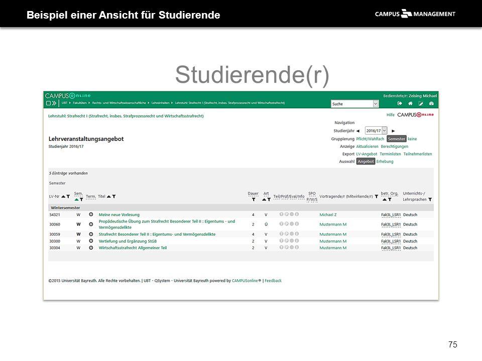 Beispiel einer Ansicht für Studierende Studierende(r) 75