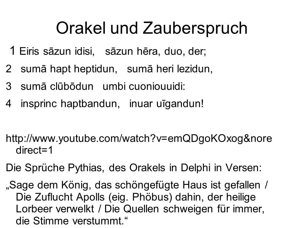 Mnemotechnische Funktion der Verse Verse durch den Rhythmus bzw.