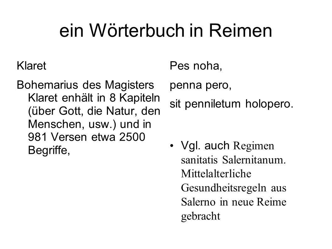 ein Wörterbuch in Reimen Klaret Bohemarius des Magisters Klaret enhält in 8 Kapiteln (über Gott, die Natur, den Menschen, usw.) und in 981 Versen etwa
