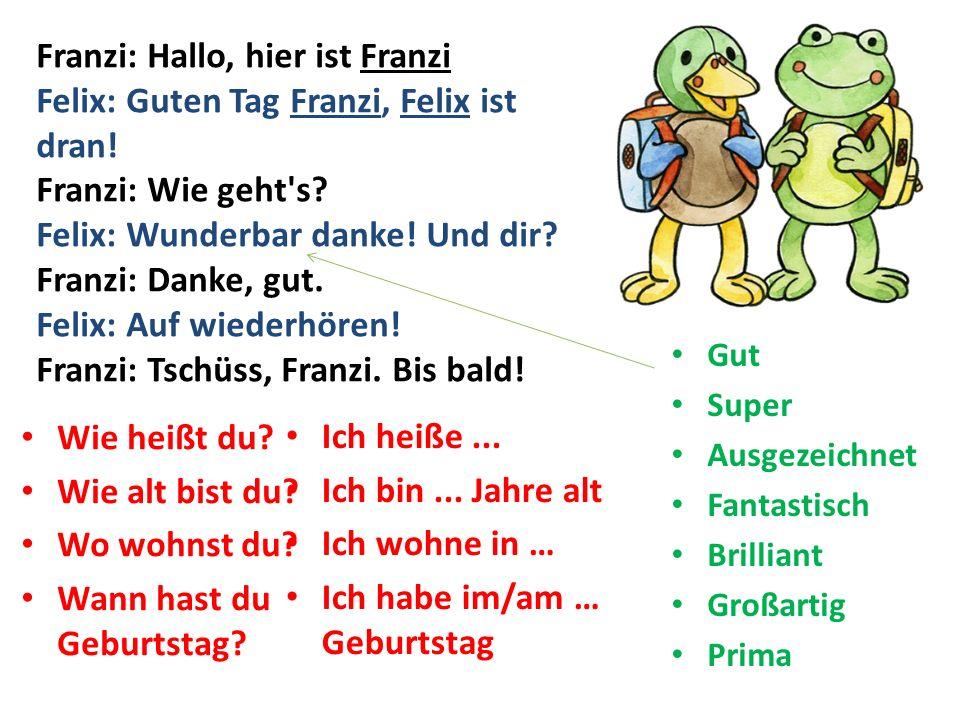 Franzi: Hallo, hier ist Franzi Felix: Guten Tag Franzi, Felix ist dran! Franzi: Wie geht's? Felix: Wunderbar danke! Und dir? Franzi: Danke, gut. Felix
