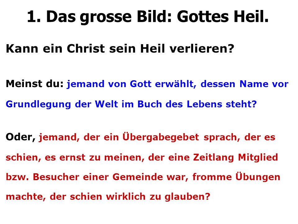Kann ein Christ sein Heil verlieren? Meinst du: jemand von Gott erwählt, dessen Name vor Grundlegung der Welt im Buch des Lebens steht? Oder, jemand,
