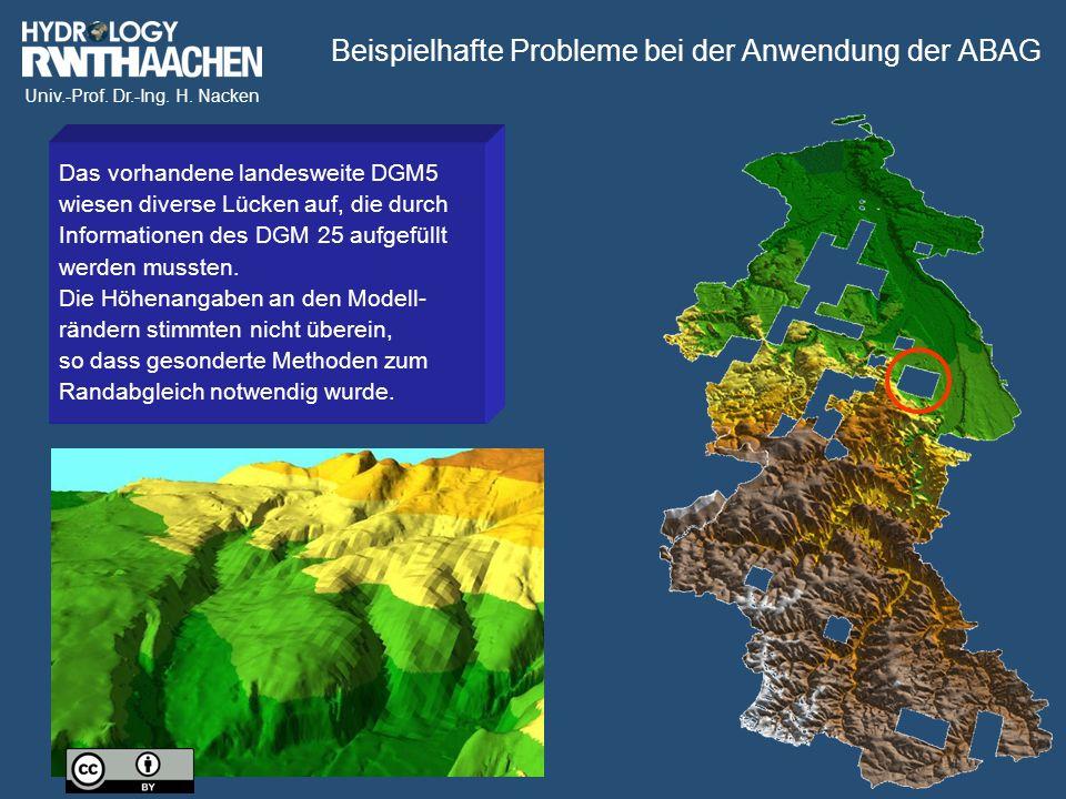 Univ.-Prof. Dr.-Ing. H. Nacken Beispielhafte Probleme bei der Anwendung der ABAG Das vorhandene landesweite DGM5 wiesen diverse Lücken auf, die durch