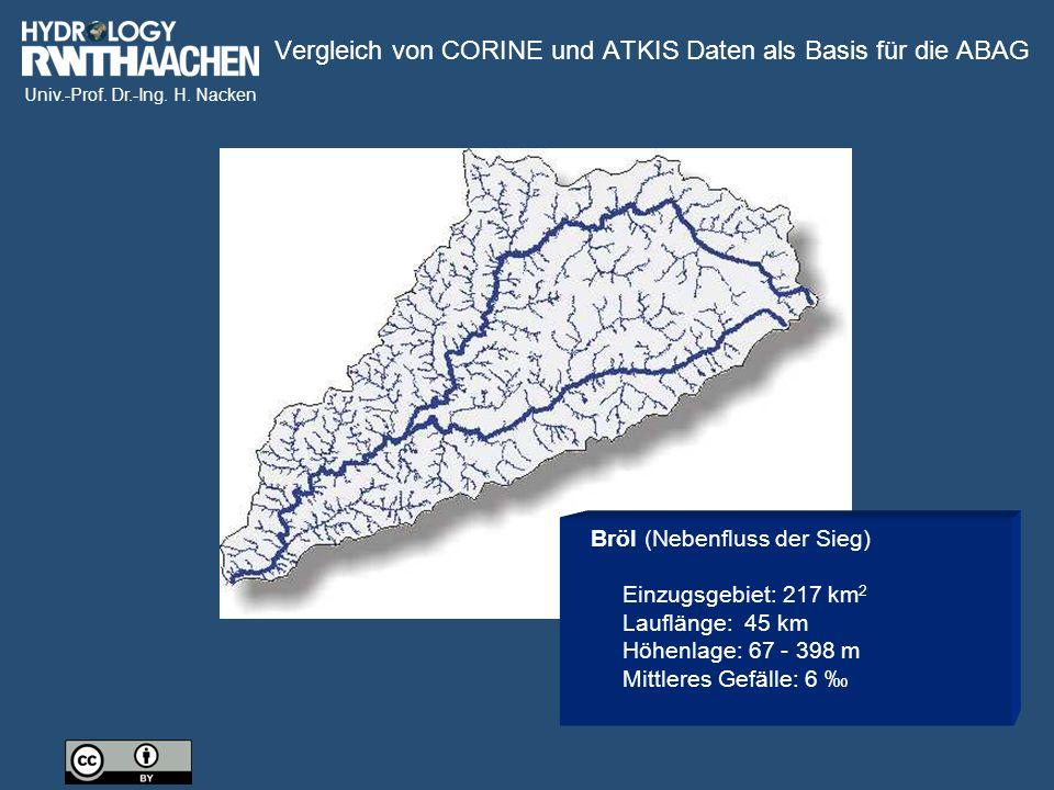 Univ.-Prof. Dr.-Ing. H. Nacken Bröl (Nebenfluss der Sieg) Einzugsgebiet: 217 km 2 Lauflänge: 45 km Höhenlage: 67 - 398 m Mittleres Gefälle: 6 ‰ Vergle