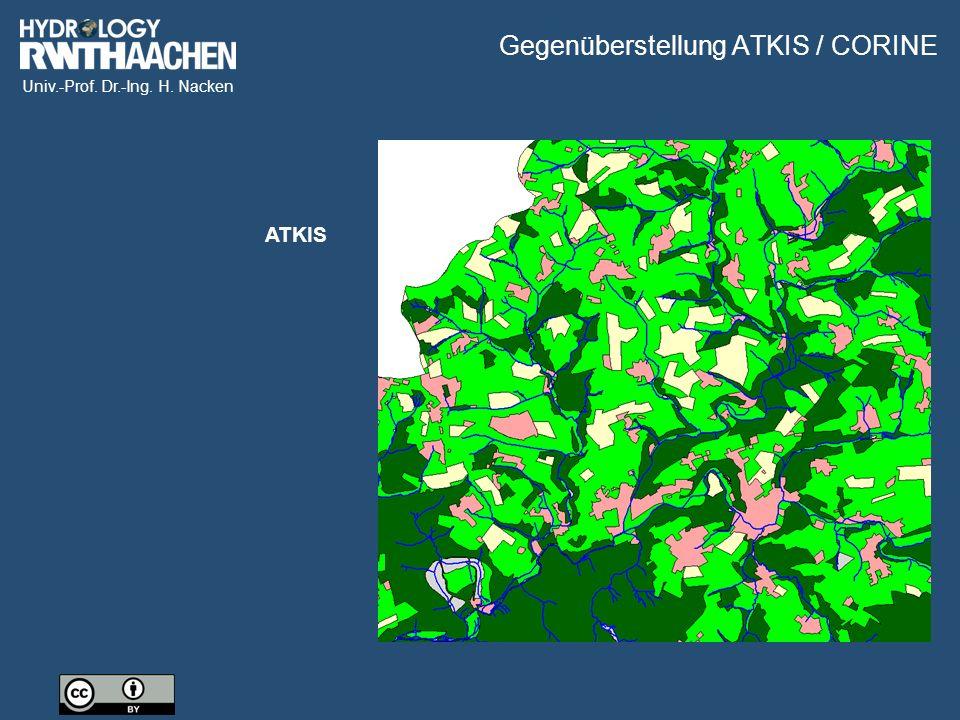 Univ.-Prof. Dr.-Ing. H. Nacken Gegenüberstellung ATKIS / CORINE ATKIS