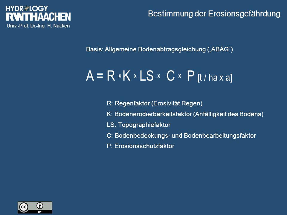 Univ.-Prof. Dr.-Ing. H. Nacken Bestimmung der Erosionsgefährdung R: Regenfaktor (Erosivität Regen) K: Bodenerodierbarkeitsfaktor (Anfälligkeit des Bod