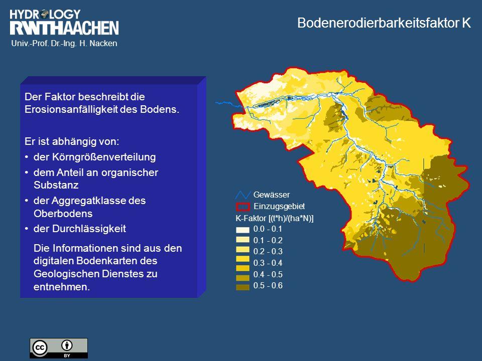 Univ.-Prof. Dr.-Ing. H. Nacken Gewässer Einzugsgebiet K-Faktor [(t*h)/(ha*N)] 0.0 - 0.1 0.1 - 0.2 0.2 - 0.3 0.3 - 0.4 0.4 - 0.5 0.5 - 0.6 Der Faktor b
