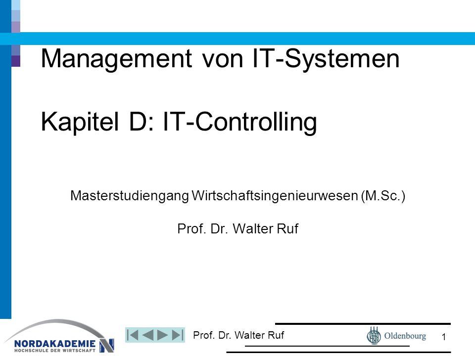 Prof. Dr. Walter Ruf Management von IT-Systemen Kapitel D: IT-Controlling Masterstudiengang Wirtschaftsingenieurwesen (M.Sc.) Prof. Dr. Walter Ruf 1