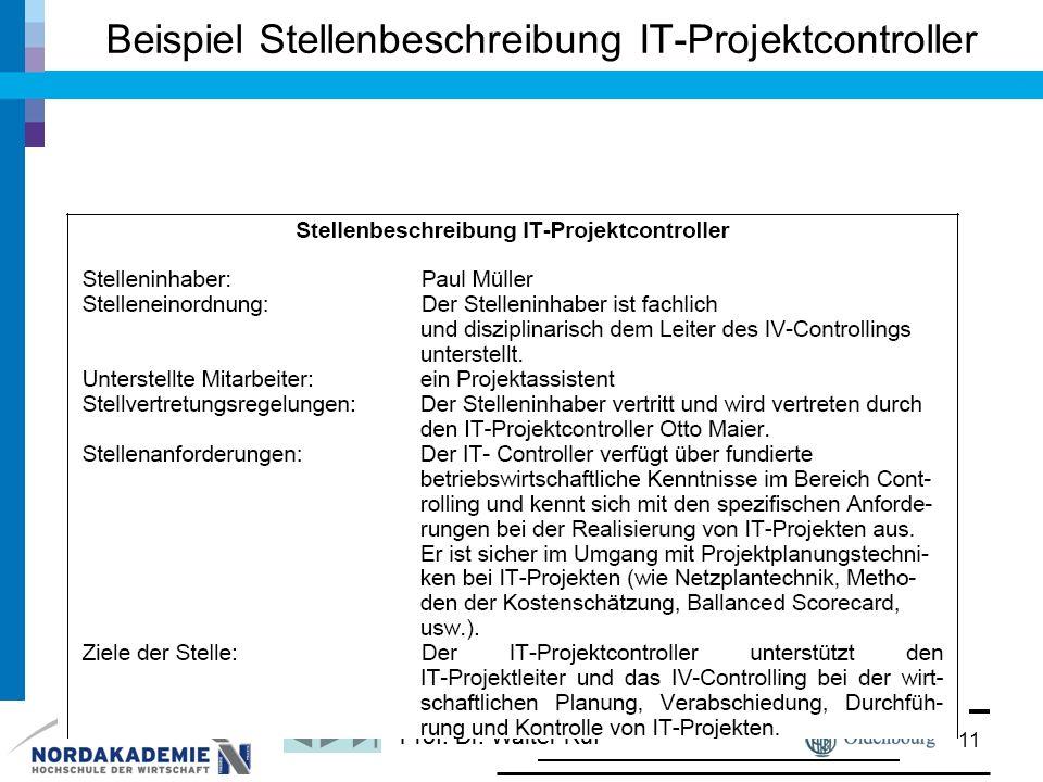 Prof. Dr. Walter Ruf Beispiel Stellenbeschreibung IT-Projektcontroller 11