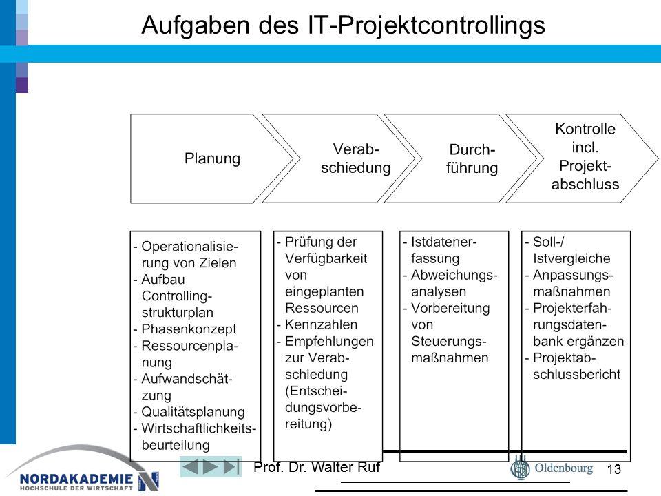 Prof. Dr. Walter Ruf Aufgaben des IT-Projektcontrollings 13