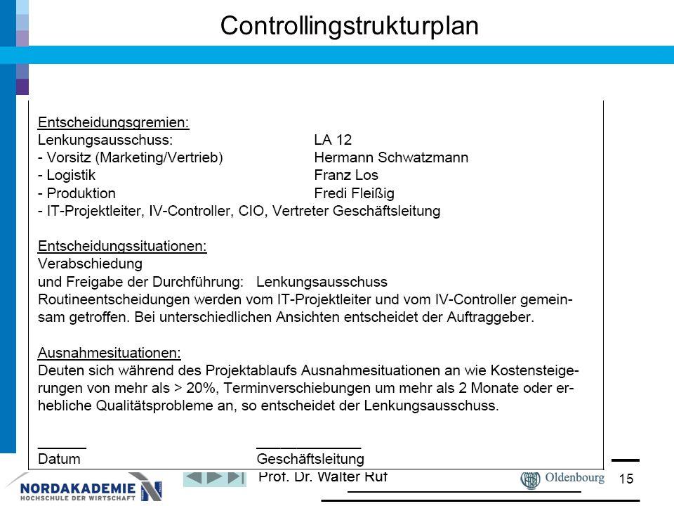 Prof. Dr. Walter Ruf Controllingstrukturplan 15