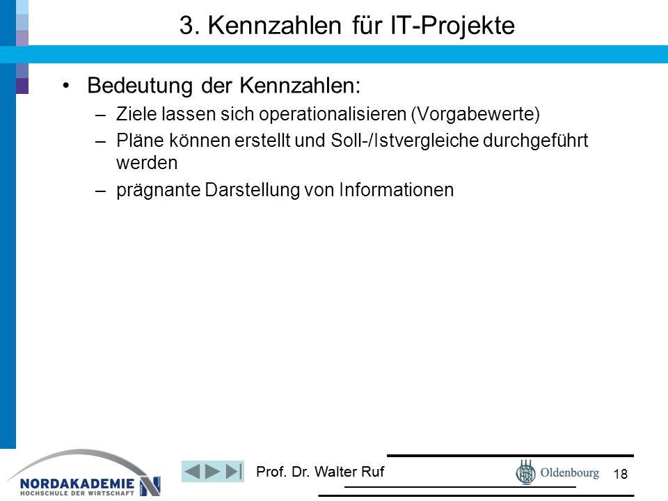Prof. Dr. Walter Ruf Bedeutung der Kennzahlen: –Ziele lassen sich operationalisieren (Vorgabewerte) –Pläne können erstellt und Soll-/Istvergleiche dur