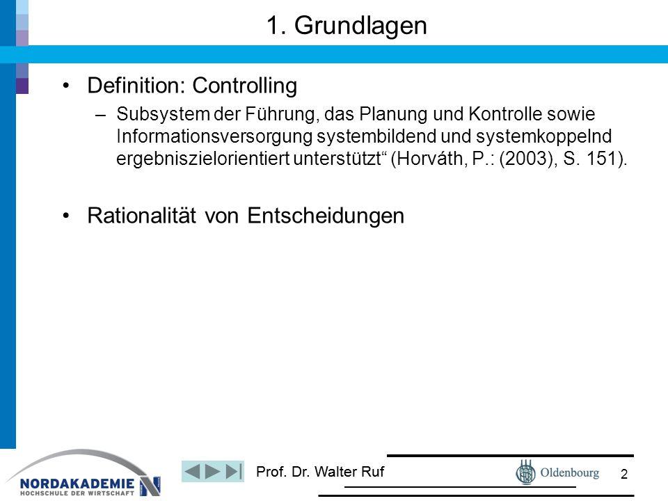 Definition: Controlling –Subsystem der Führung, das Planung und Kontrolle sowie Informationsversorgung systembildend und systemkoppelnd ergebniszielor