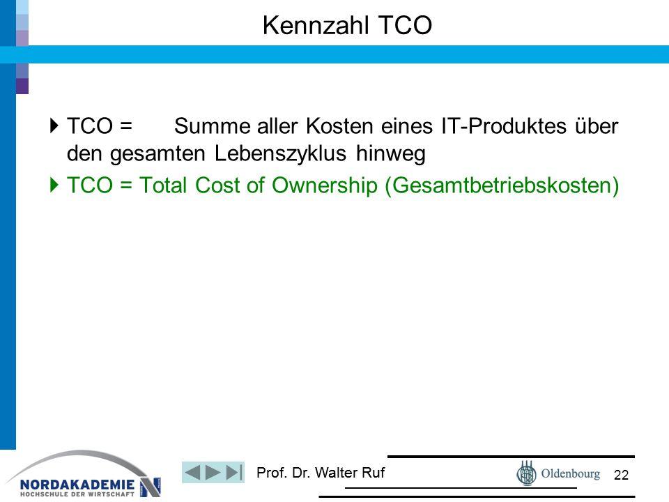 Prof. Dr. Walter Ruf  TCO = Summe aller Kosten eines IT-Produktes über den gesamten Lebenszyklus hinweg  TCO = Total Cost of Ownership (Gesamtbetrie