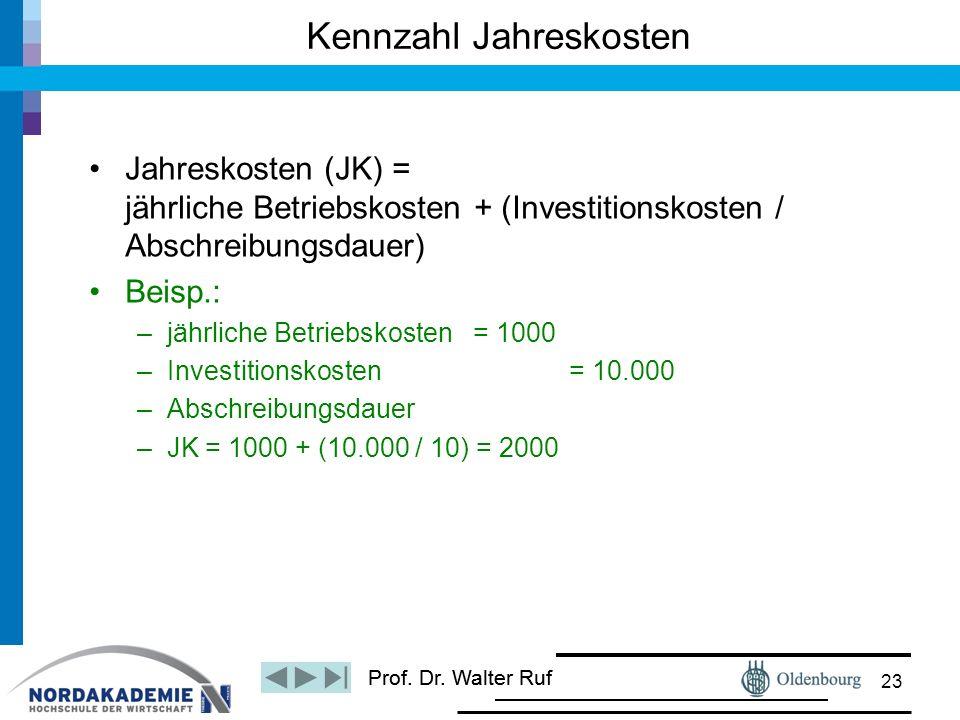 Prof. Dr. Walter Ruf Jahreskosten (JK) = jährliche Betriebskosten + (Investitionskosten / Abschreibungsdauer) Beisp.: –jährliche Betriebskosten = 1000