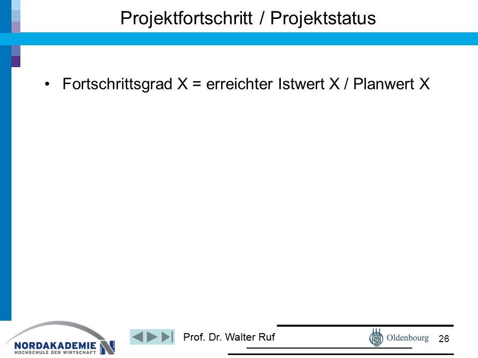 Prof. Dr. Walter Ruf Fortschrittsgrad X = erreichter Istwert X / Planwert X Projektfortschritt / Projektstatus 26