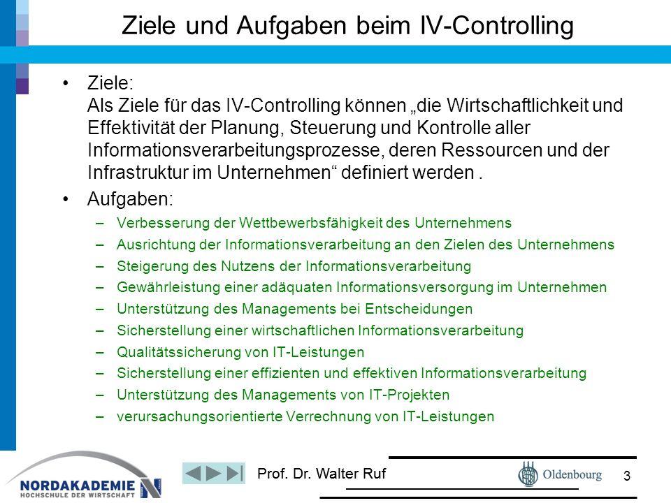 """Prof. Dr. Walter Ruf Ziele: Als Ziele für das IV-Controlling können """"die Wirtschaftlichkeit und Effektivität der Planung, Steuerung und Kontrolle alle"""