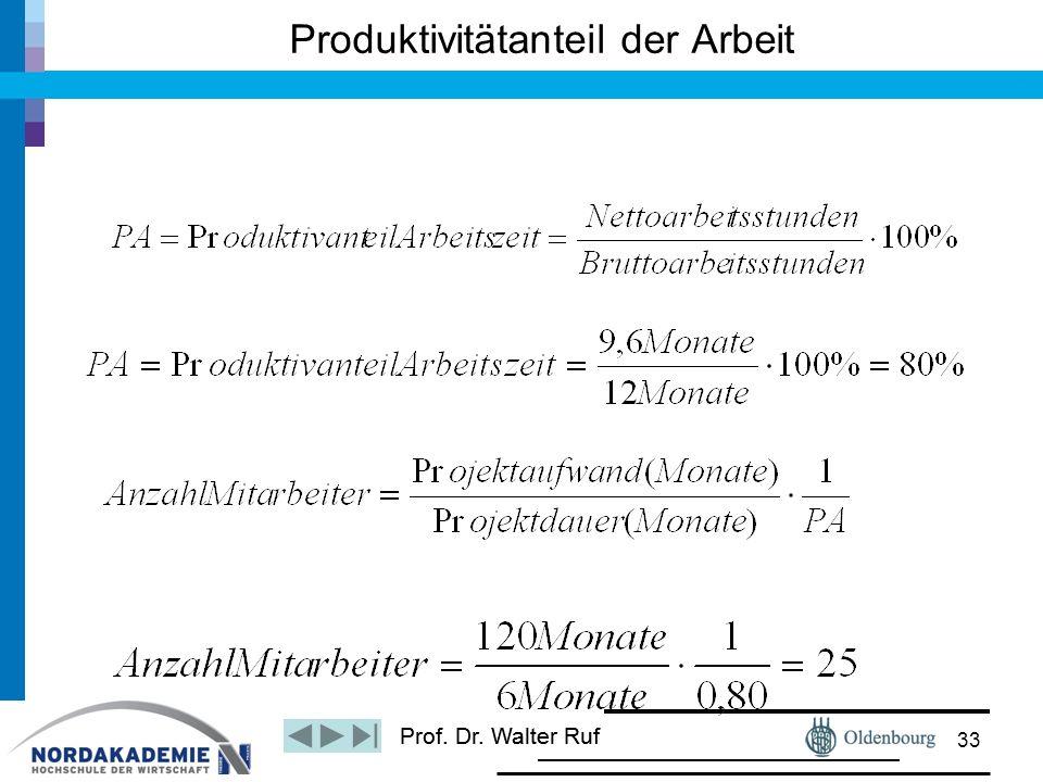 Prof. Dr. Walter Ruf Produktivitätanteil der Arbeit 33