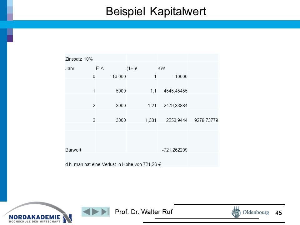 Prof. Dr. Walter Ruf Beispiel Kapitalwert 45 Zinssatz 10% JahrE-A(1+i) t KW 0-10.0001-10000 150001,14545,45455 230001,212479,33884 330001,3312253,9444