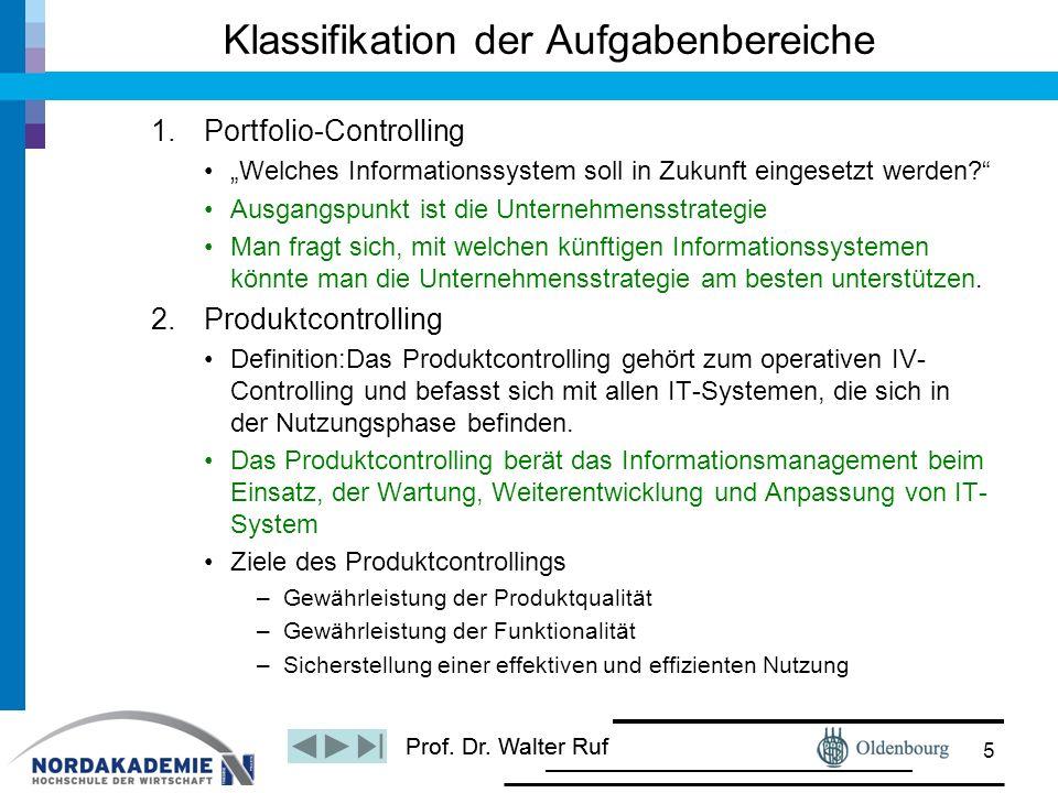 """Prof. Dr. Walter Ruf Klassifikation der Aufgabenbereiche 1.Portfolio-Controlling """"Welches Informationssystem soll in Zukunft eingesetzt werden?"""" Ausga"""