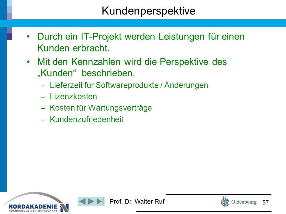 """Prof. Dr. Walter Ruf Durch ein IT-Projekt werden Leistungen für einen Kunden erbracht. Mit den Kennzahlen wird die Perspektive des """"Kunden"""" beschriebe"""